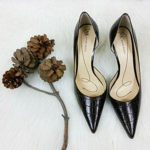 Anne Klein Womens Brown Crocodile Print  Heels